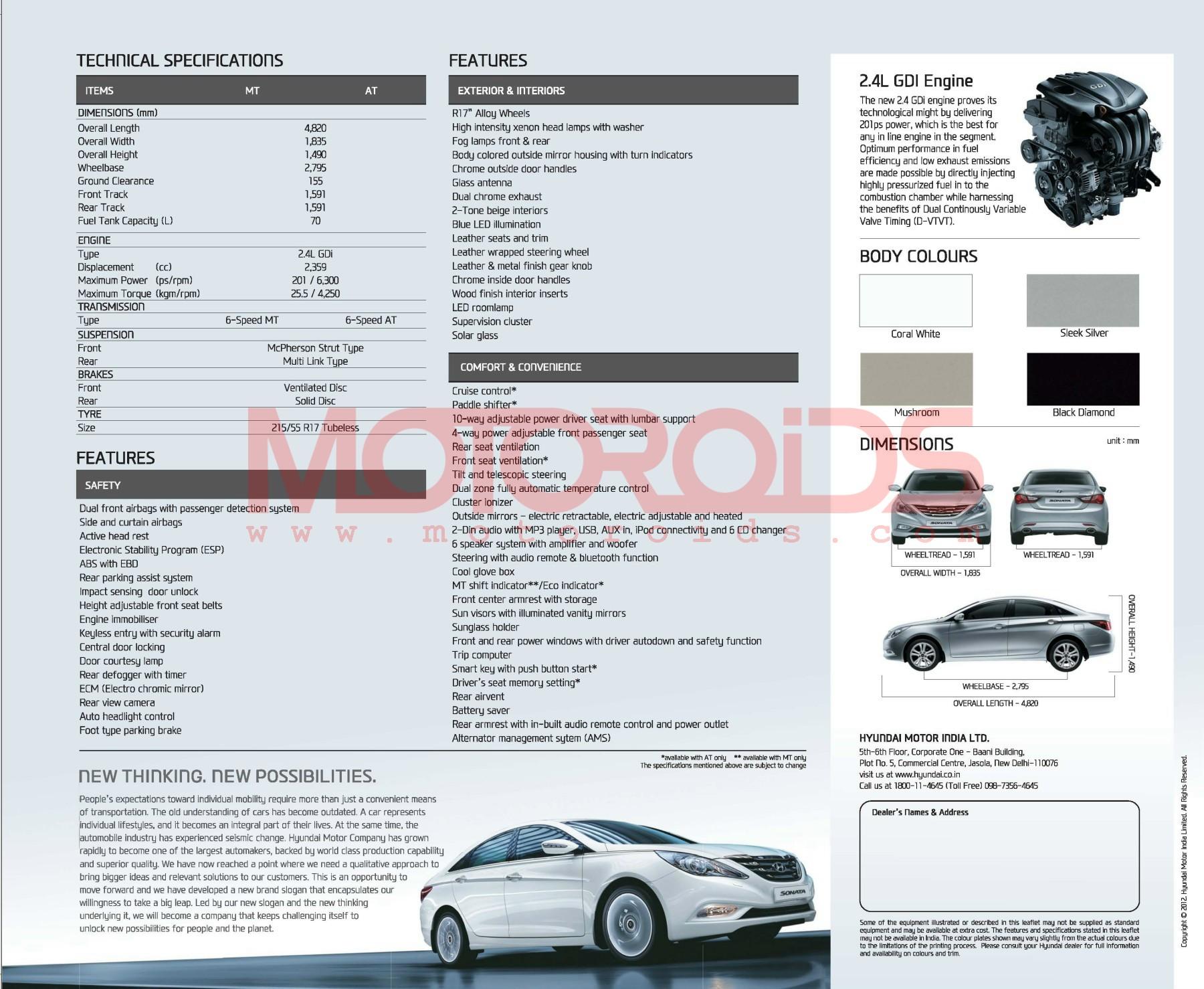 Hyundai Sonata India Specs
