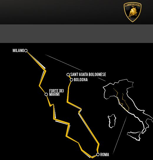 Lamborghini 50th anniversary route