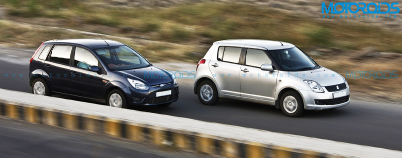 Ford Figo and Maruti Suzuki Swift On Road Action Shot