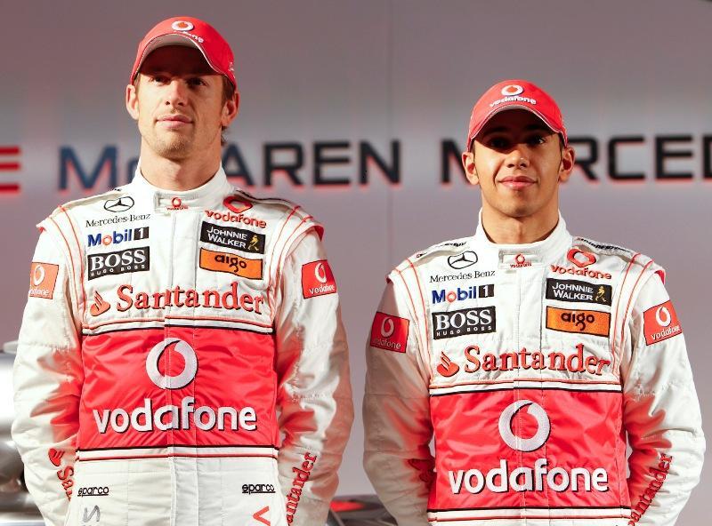 2010 vodafone mclaren drivers, jenson button, lewis hamilton