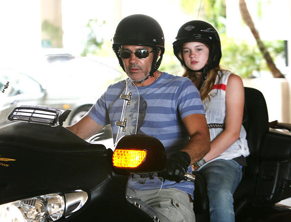 Antonio Banderas takes his daughter for a spin on the Honda Goldwing