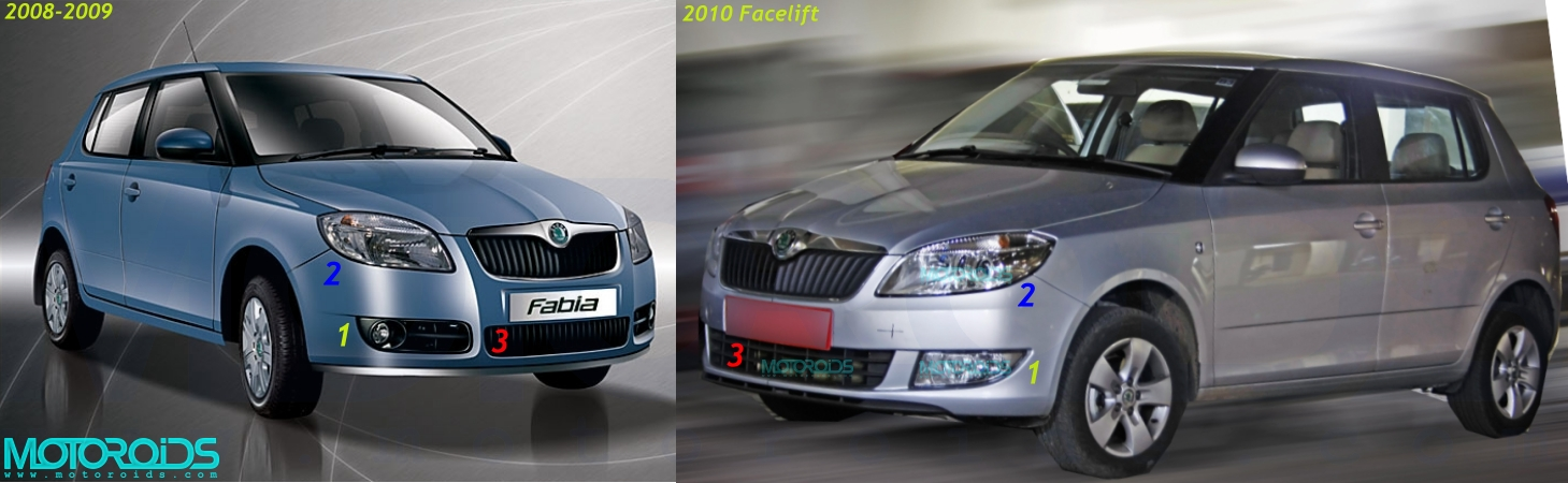 Comparison of the 2008/2009 and 2010 Skoda Fabia sold in India