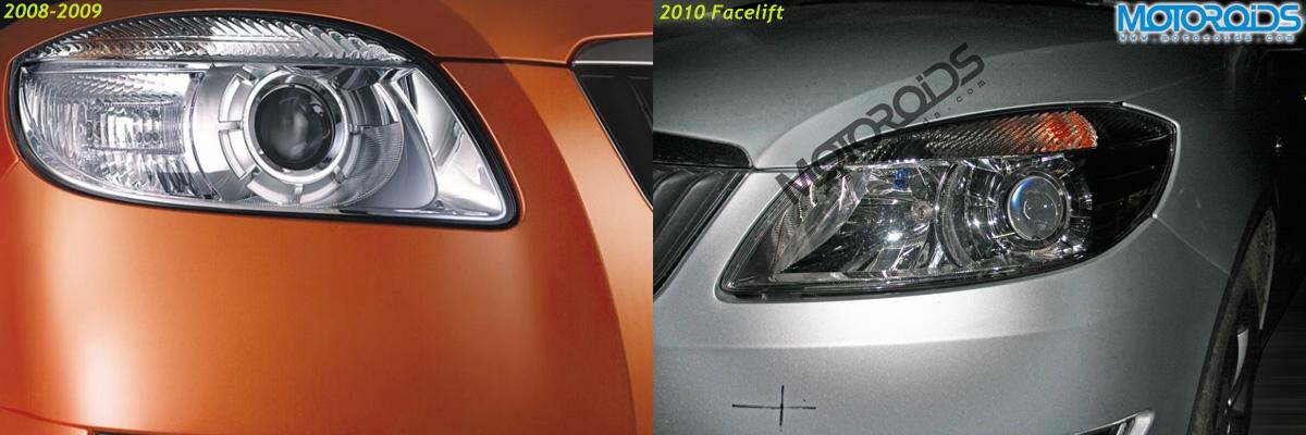Wider headlights on the 2010 Skoda Fabia facelift (right) as compared to the smaller headlights on the 2008/2009 model