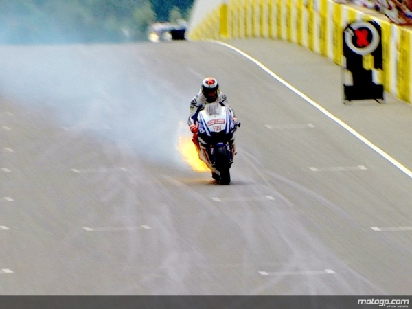Motoroids presents 'Caption This Photo' - Lorenzo on fire at MotoGP of Sachsenring