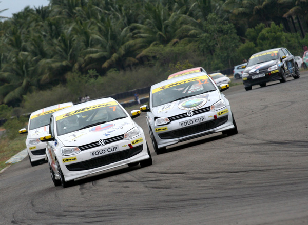 Karthik Shankar finished the 2nd race of the Volkswagen - JK Tyre Polo Cup 2010 in the 1st position at Coimbatore - www.motoroids.com