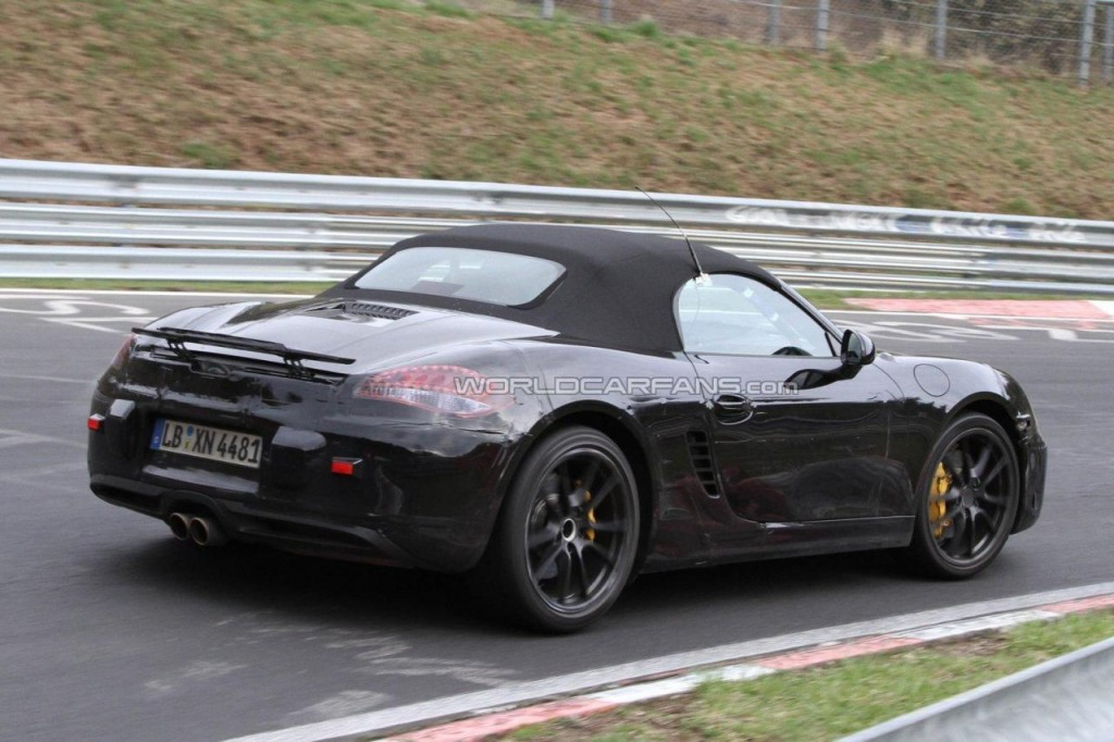Spy images of the new 2012 Porsche Boxster speculated to run on a 2.5 lit 4 cylinder engine producing 360bhp of power