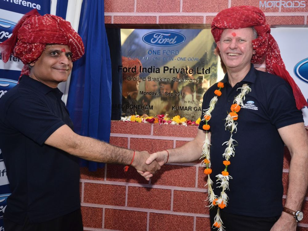Kumar Galhotra and Michael Boneham at Gujarat Plant Ground Breaking Ceremony Sept 05, 2011