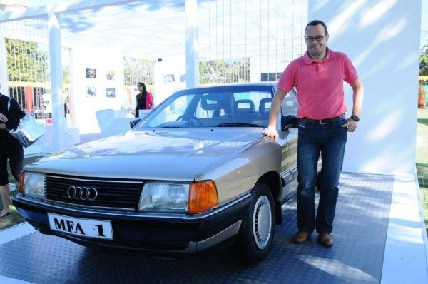 Michael Perschke, MD, Audi India with Audi 100- Car won by Ravi Shastri for Champion of the Champions in 1985