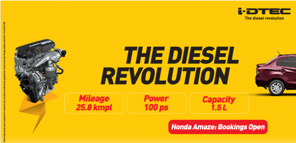Honda Amaze diesel bookings india