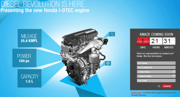 Honda Cars India official website shows the countdown to the launch