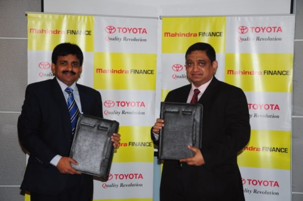 (L-R) - Mr. N. Raja, Senior Vice President, Sales & Marketing, Toyota Kirloskar Motor & Mr. Rajnish Agarwal – Vice President Operations, Mahindra & Mahindra Financial Services