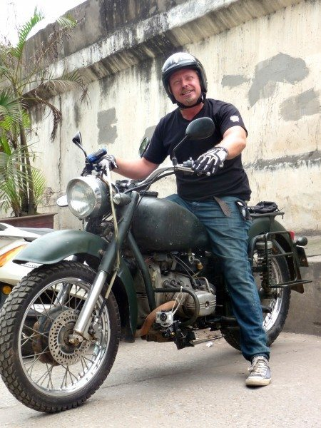 Charley Boorman on the 650cc Ural on set filming Freedom Riders Asia in Vietnam