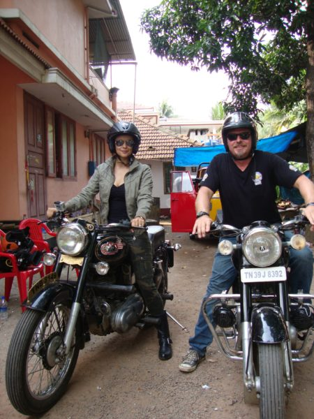 Charley Boorman with Gul Panang on set in Munnar India filming Freedom Riders Asia