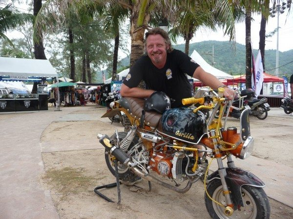 Charley Boorman with a bike from the Phuket Bike Week on set filming Freedom Riders Asia in Phuket Thailand