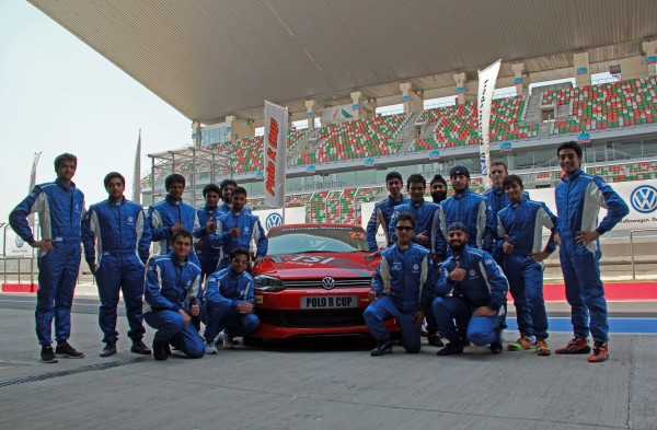 Polo R Cup 2013 drivers at the Buddh International Circuit with Polo 1.4 TSI racecar