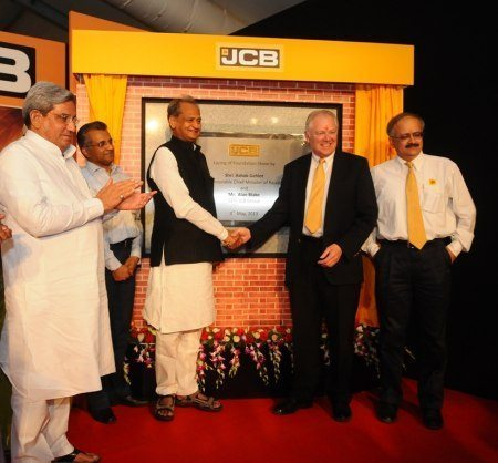 Shri Ashok Gehlot, Chief Minister of Rajasthan with Shri. Alan Blake, CEO, JCB Group and Mr. Vipin Sondhi, MD & CEO, JCB India at JCB's 4th Plant Foundation Stone Laying Ceremony in Jaipur