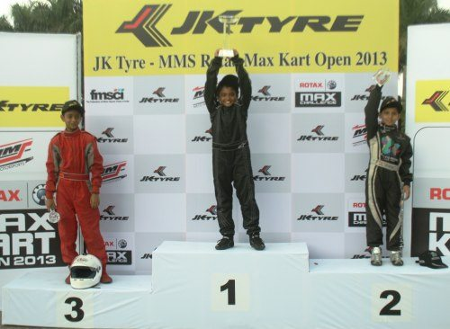 Winners in the Rookie class of Micro Max category at JK Tyre-MMS Rotak Max Kart Open 2013