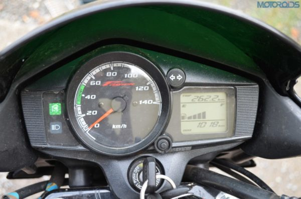 The bike comes with semi digital instrument panel