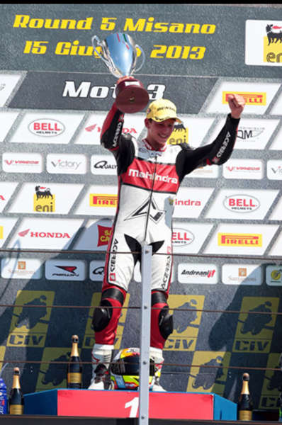 Mahindra rider Locatelli on the first step of the podium – victory celebrations