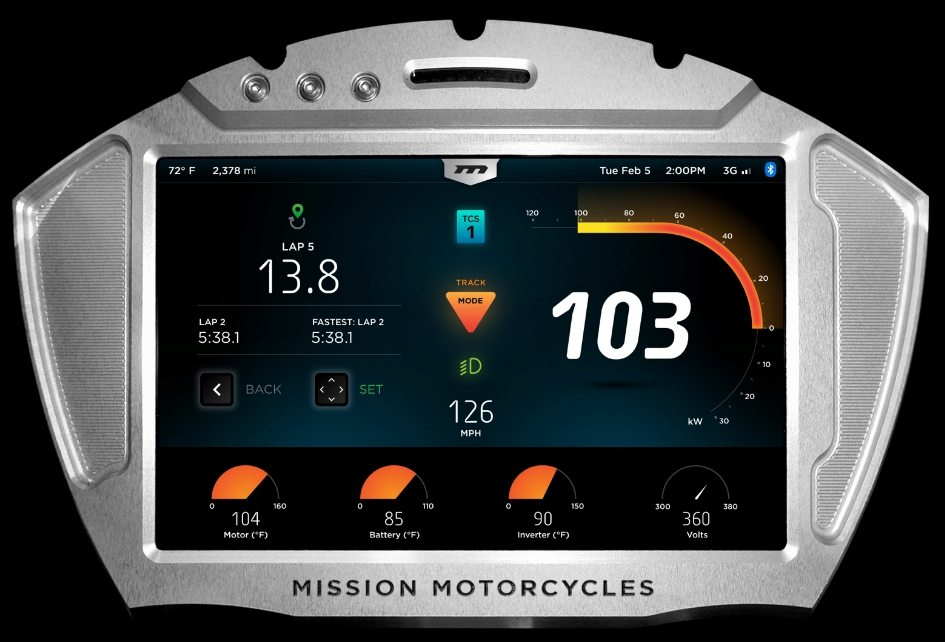 Mission Electric Superbike console