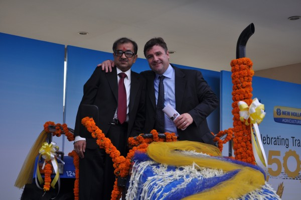 Mr. Rakesh Malhotra, Head of New Holland Fiat India,Mr Stefano Pampalone, Head of Operations for India, Pakistan, Far East and Japan at the Celebration to mark rollout of New Holland's 2,50,000th tractor