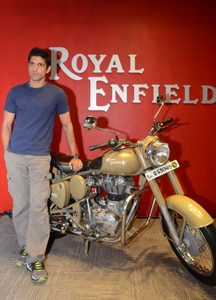 Farhan Akhtar with the Royal Enfield Desert Storm 2