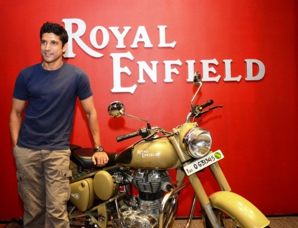Farhan Akhtar with the Royal Enfield Desert Storm
