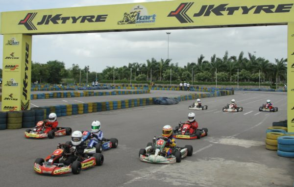 Karters race at Round 2 of the 10th JK Tyre-FMSCI National Rotax Max Karting Championship at JK Tyre-MMS Kartainment Track in Hyderabad _2