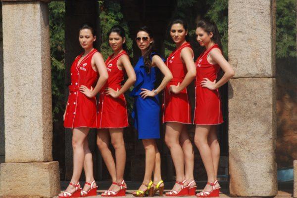Airtel Grid Girls with Designer Mandira Wirk Kick Start F1 Fervour in Hauz Khas Fort in the Capital Today