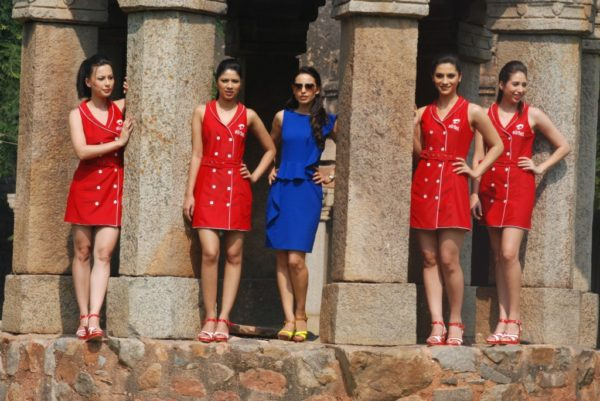 Airtel Grid Girls with Designer Mandira Wirk Kick Start F1 Fervour in Hauz Khas Fort in the Capital Today'