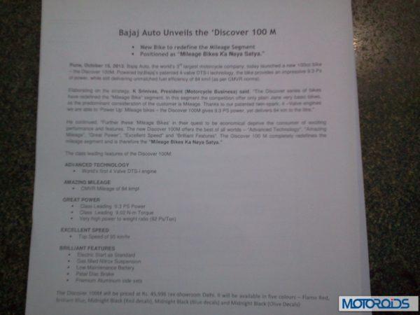 Bajaj Discover 100M India launch (2)