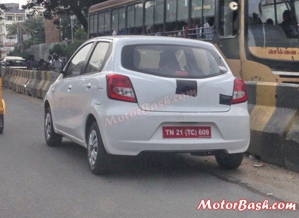 This Datsun Go test mule was spotted testing on public roads of Chennai