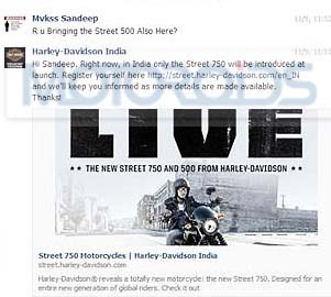 Harley Daivdson Street 500 India Launch
