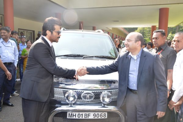 Mr. Ankush Arora- Sr. Vice President, Passenger Vehicle Business Unit (Commercial), Tata Motors presented Anil Kapoor with a specially manufactured, Jai Singh Rathod edition of Safari Storme. Wishing the superstar all the luck and success, Mr. Arora stated that, Tata Motors is proud to partner with Colors to be the title sponsor of the series '24' in its Indian avatar and that the company is very excited to see the superstar behind the wheels of this rugged SUV