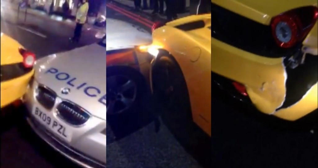 Police crash into ferrari