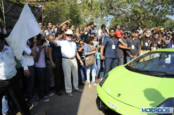 Dr Vijaypath Singhania flagging off the 6th Parx Super Car Show