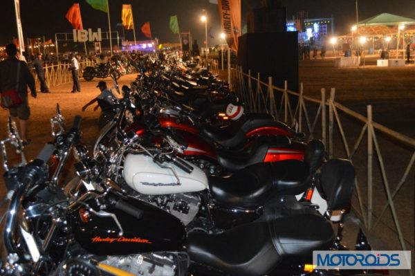 Line up of Harley-Davidson motorcycles at 2nd India H.O.G. Rally in Goa