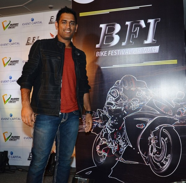 MS Dhoni at the Bike Festival of India