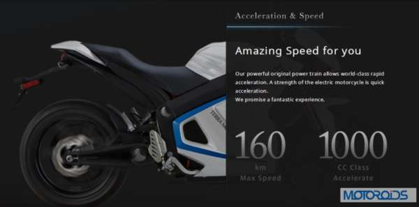 Terra Motors Kiwami Electric super bike top speed