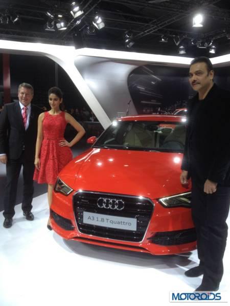 Mr. Joe King, Head, Audi India with Bollywood Actress Ileana D'Cruz and Former Cricketer Ravi Shastri at Auto Expo 2014