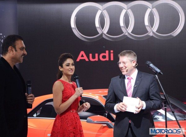 Mr. Joe King, Head, Audi India with actress Ileana D'Cruz and Ravi Shastri at Auto Expo 2014