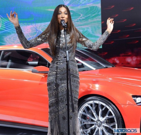 Singer and actress Monika Dogra performing at Audi Stand in Auto Expo 2014