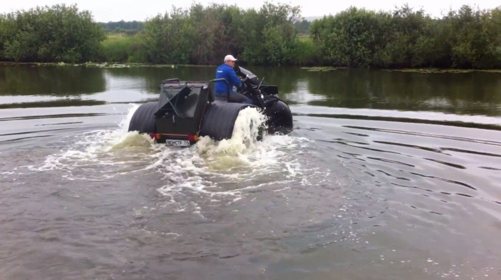 Ural Trike floating on water