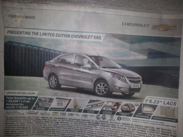 Chevrolet Sail Limited Edition launched @ INR 5.23 Lakhs