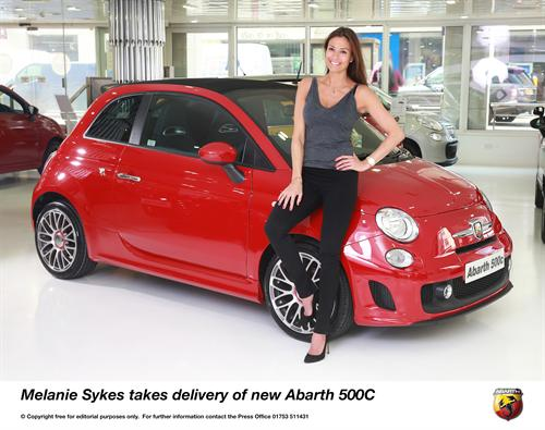 Melanie Sykes takes delivery of new Abarth 500C 1