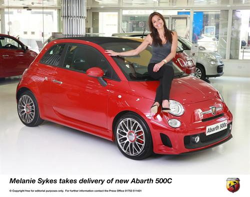 Melanie Sykes takes delivery of new Abarth 500C 2