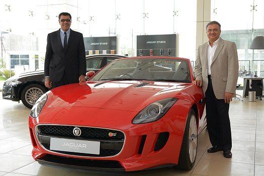 L-R Mr. Rohit Suri, VP, JLR India and Mr. Bharat Sheth, Dealer Principal, Westmidlands Cars with Jaguar F-TYPE Convertible