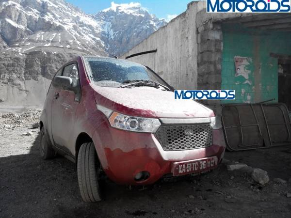 Scoop: Mahindra e2o spotted testing at 13,400 ft in Losar, Spiti