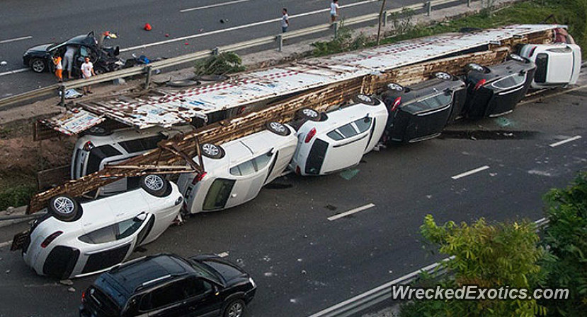 Truck Carrying High End Vehicles Overturns Damage Cars Worth Usd