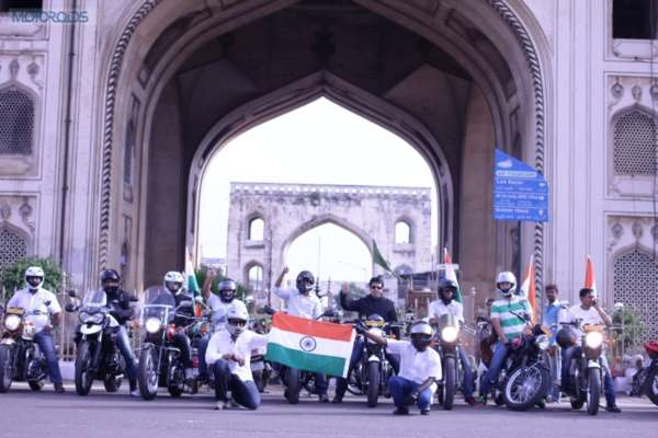 Triumph Riders in Hyderabad, posing at Char minar - Independence Day Ride